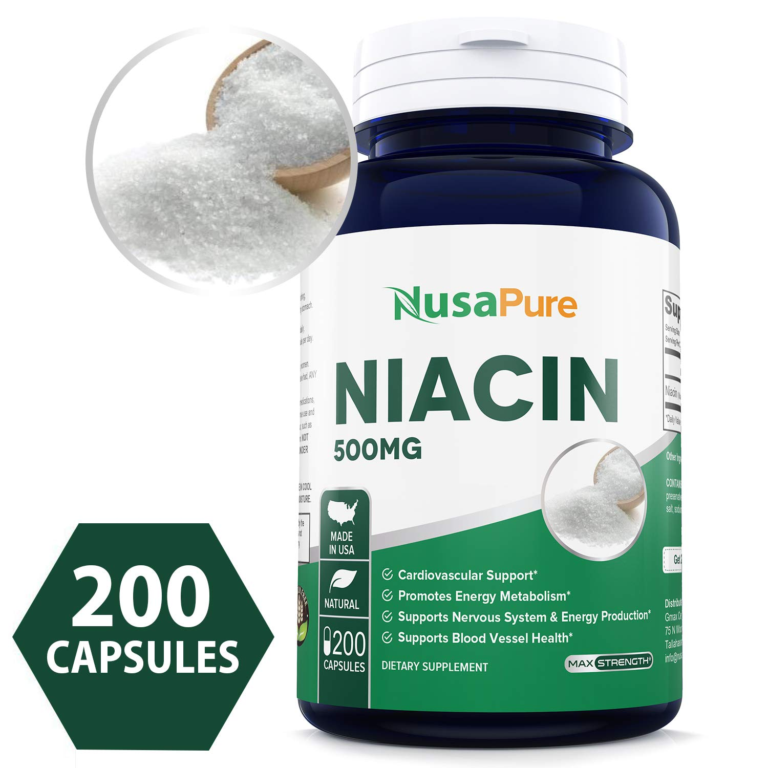 Best Niacin 500mg 200caps (Non-GMO & Gluten Free) Supports Nervous System and Energy Production *Be Aware Niacin May Cause''Flush''* - Made in USA - 100% Money Back Guarantee!