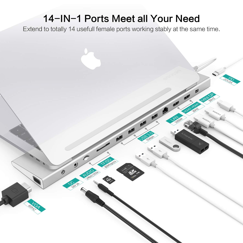 1080P VGA 4K Mini Displayport USB C 3.1 Ladeanschluss 60W Silber Homtiky USB-C Docking Station Thunderbolt 3 Dock Universal Type C Hub Dock mit 2 4K HDMI Videoausg/änge Gigabit 1000M LAN