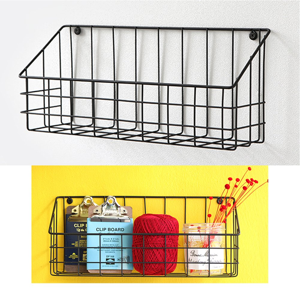 Amazon.com: Black Vintage Metal Wire Basket Wall Mount Hanging ...