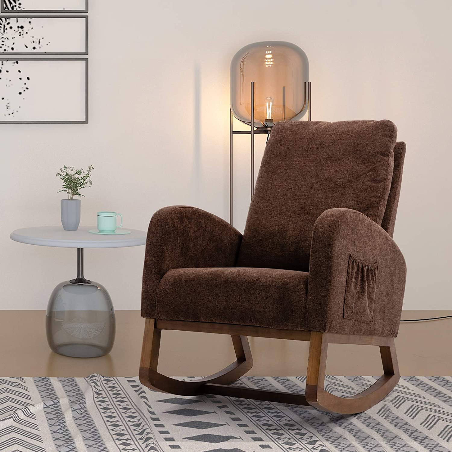 SSLine Upholstered Rocking Chair Comfortable Fabric Rocker Chair with Wooden Frame High-Back Porch Gliding Rocker Lounge Relaxing Armchair w/Side Storage Pocket for Living Room Bedroom Nursery