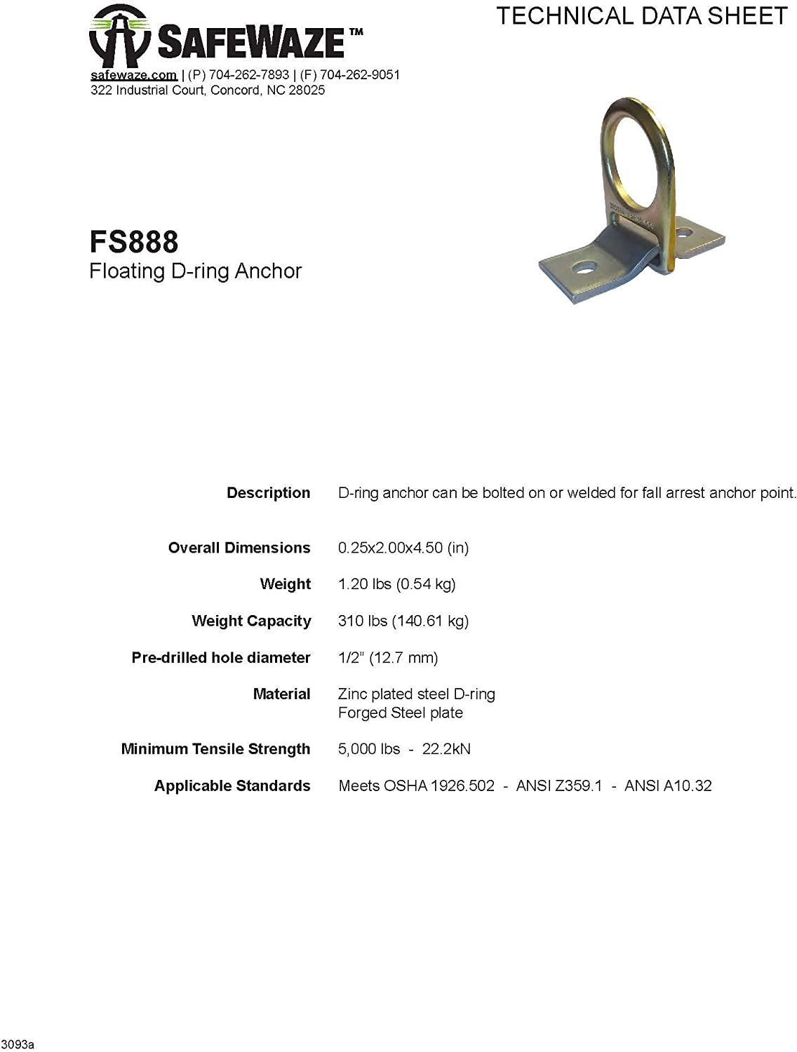 SafeWaze Floating D-Ring Anchor for Industrial and Construction Use FS888 OSHA//ANSI Compliant Fall Protection Device
