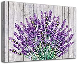 "Vintage Flower Canvas Wall Art Bedroom Decor Purple Lavender Wood Board Bathroom Wall Art Modern Botanic Canvas Artwork Picture Living Room Bedroom Office Kitchen Home Framed Ready to Hang 20"" x 28"""