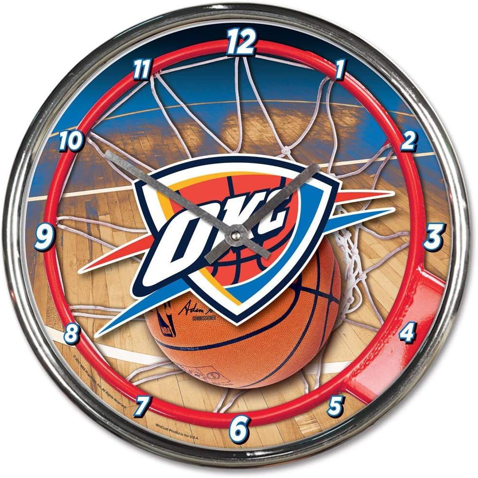 Oklahoma City Thunder 12 inch Round Wall Clock Chrome Plated