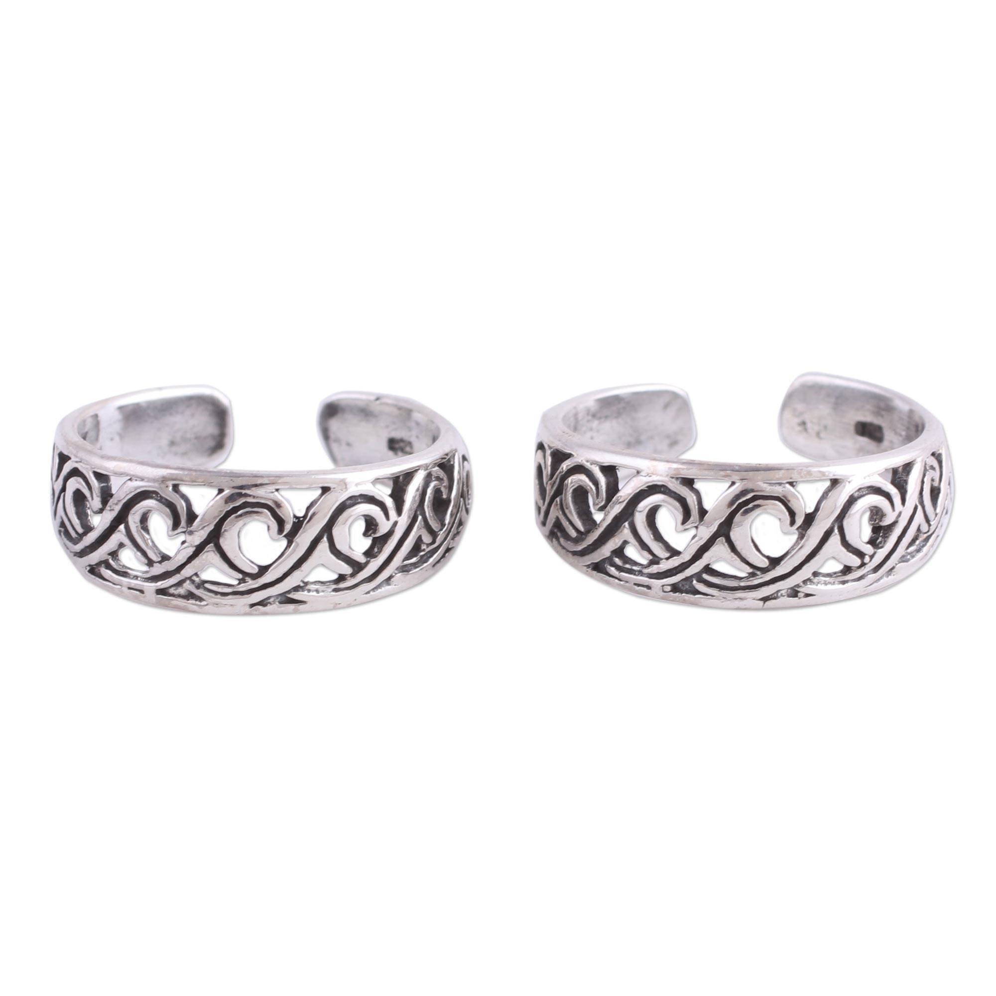 NOVICA .925 Sterling Silver Spiral Ocean Wave Motif Toe Rings 'Fascinating Swirls' (pair)