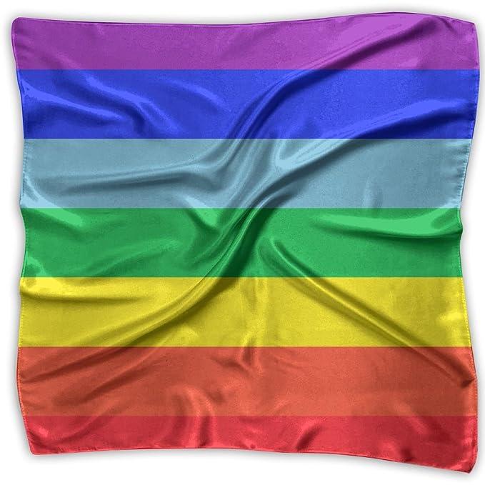 Kerera Womens Rainbow Flag Gay Pride Flag Graphic Design Soft Fashion  Scarves Silk Scarf 2efdf856a8