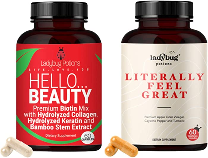 Ladybug Potions Hello Beauty and Literally Feel Great, Inner and Outer Beauty Bundle, 60 Capsules
