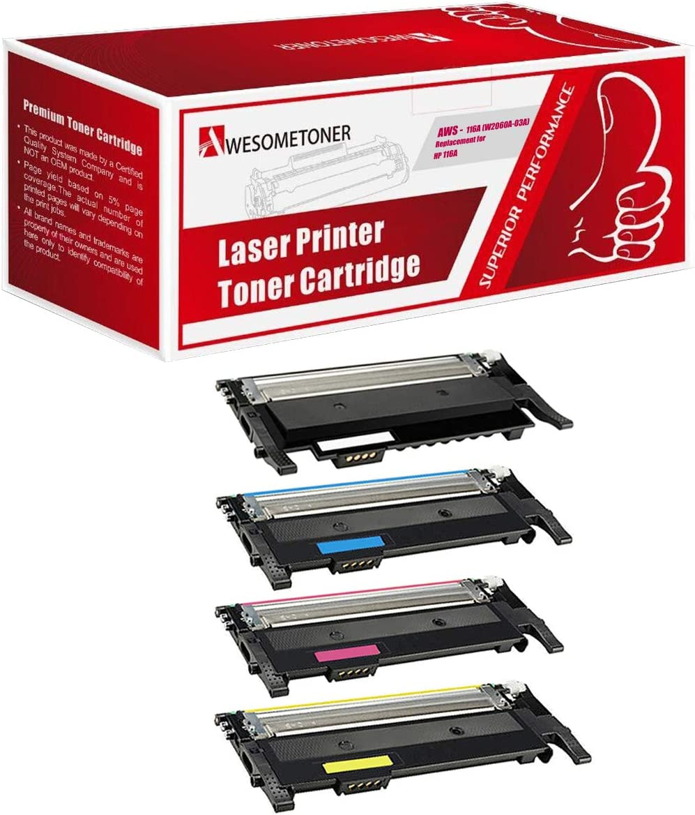 Awesometoner Compatible NO CHIP Toner Cartridge Replacement for HP 116A W2060A W2061A W2062A W2063A use with Color Laser MFP 179fnw (Black, Cyan, Magenta, Yellow, 4-Pack)