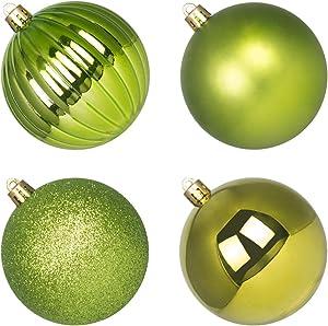 4Pcs Christmas Balls Ornaments for Xmas Tree - Shatterproof Christmas Tree Decorations Large Hanging Ball Lemon Green 4.0