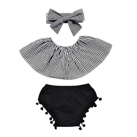 DRESS_start Conjuntos para Bebé NiñAs Camiseta Blusa Linda A Rayas Bodies Encaje Sin Hombro + Pantalones
