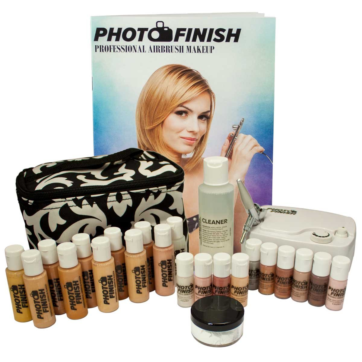 Photo Finish Professional Airbrush Cosmetic Makeup Deluxe System Kit Master Set / Fair to Tan Shades (luminous Finish)