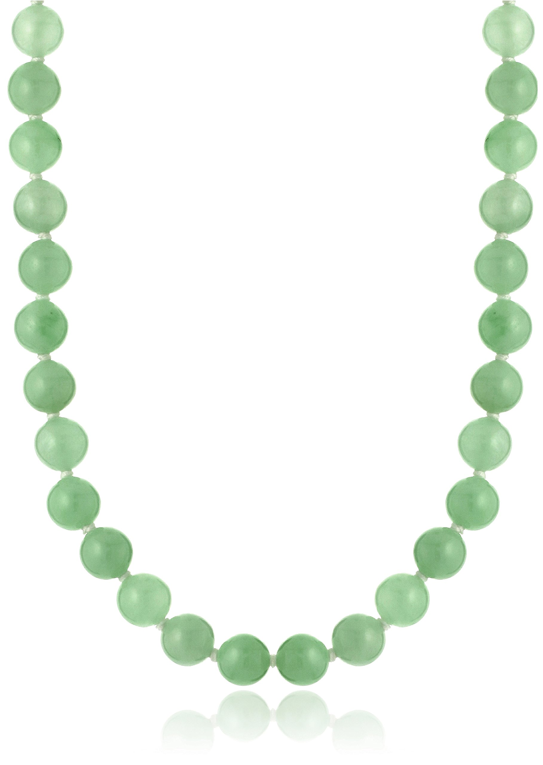 Rhodium-Plated Sterling Silver Green Jade Strand Necklace, 18''