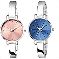 KDENTERPRISE Causal Analogue Pink Dial Silver Plated Bracelet Women's Girl's Wrist Watch Pack of 2