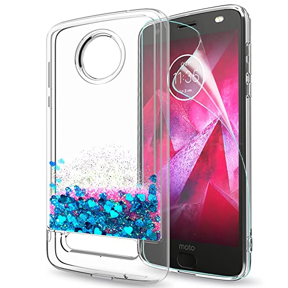 half off 37df1 5eef0 Moto Z2 Force Glitter Case (NOT FIT Moto Z Force) with HD Screen Protector  for Girls Women,LeYi Shiny Bling Liquid Clear TPU Protective Phone Case for  ...