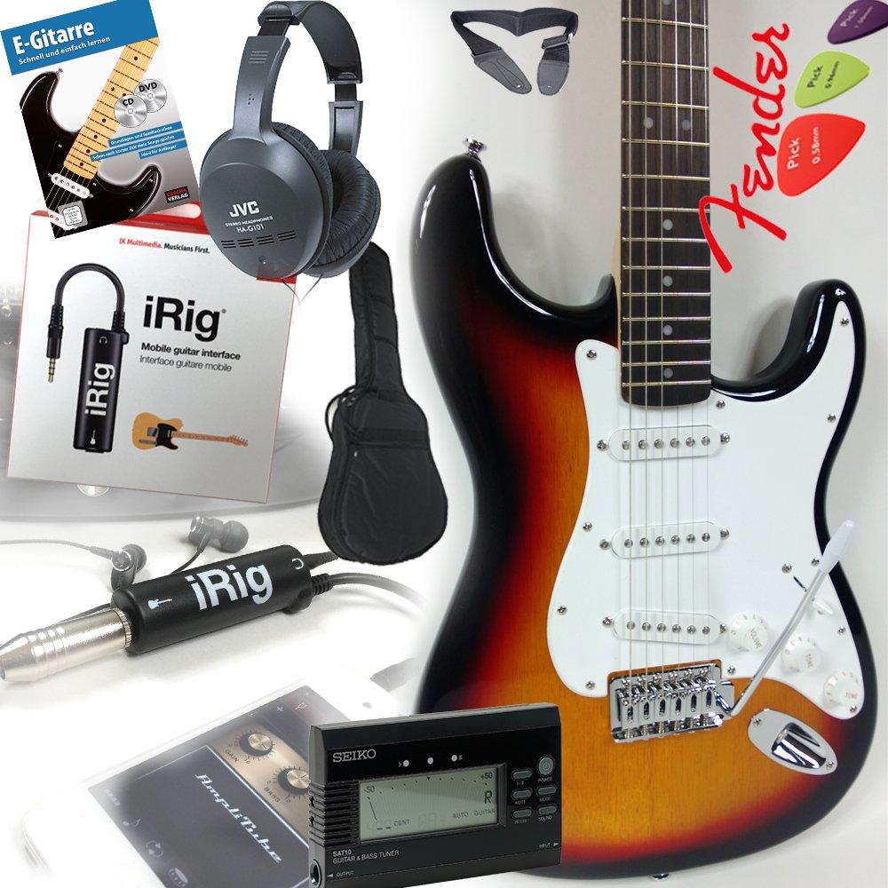 Fender Squier Bullet Strat guitarra eléctrica en negro + iRig Guitarra Interfaz para iPhone y iPad + Auriculares JVC + Seiko Afinador con aguja de pantalla ...