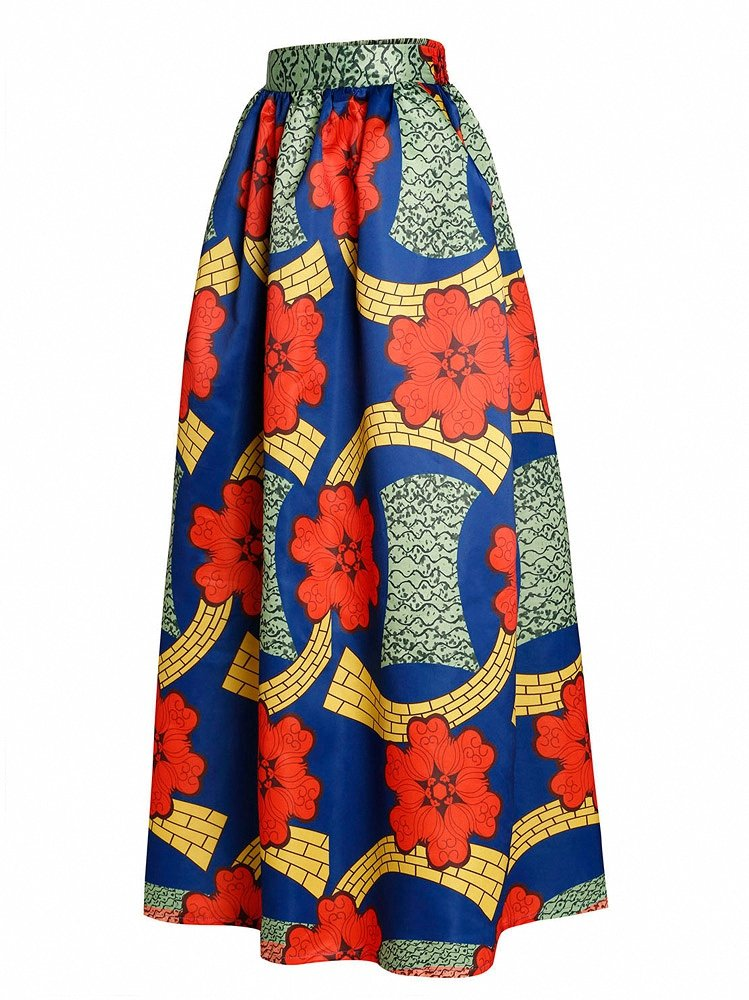 Afibi Women African Printed Casual Maxi Skirt Flared Skirt Multisize A Line Skirt (Medium, Pattern 6)