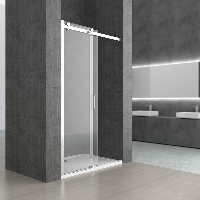 Sogood porte de douche pour niche 125X195 porte coulissante paroi de douche avec porte glissante verre ESG 8mm Nano anti-calcaire Teramo4-2 sans contour
