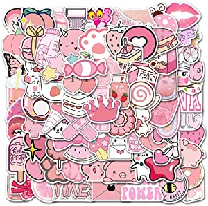 100 pink Vsco stickers, aesthetic stickers, cute Vsco stickers, laptop stickers, vinyl stickers, water bottle stickers, waterproof stickers for children and adolescent girls, Christmas girly gift sticker packs