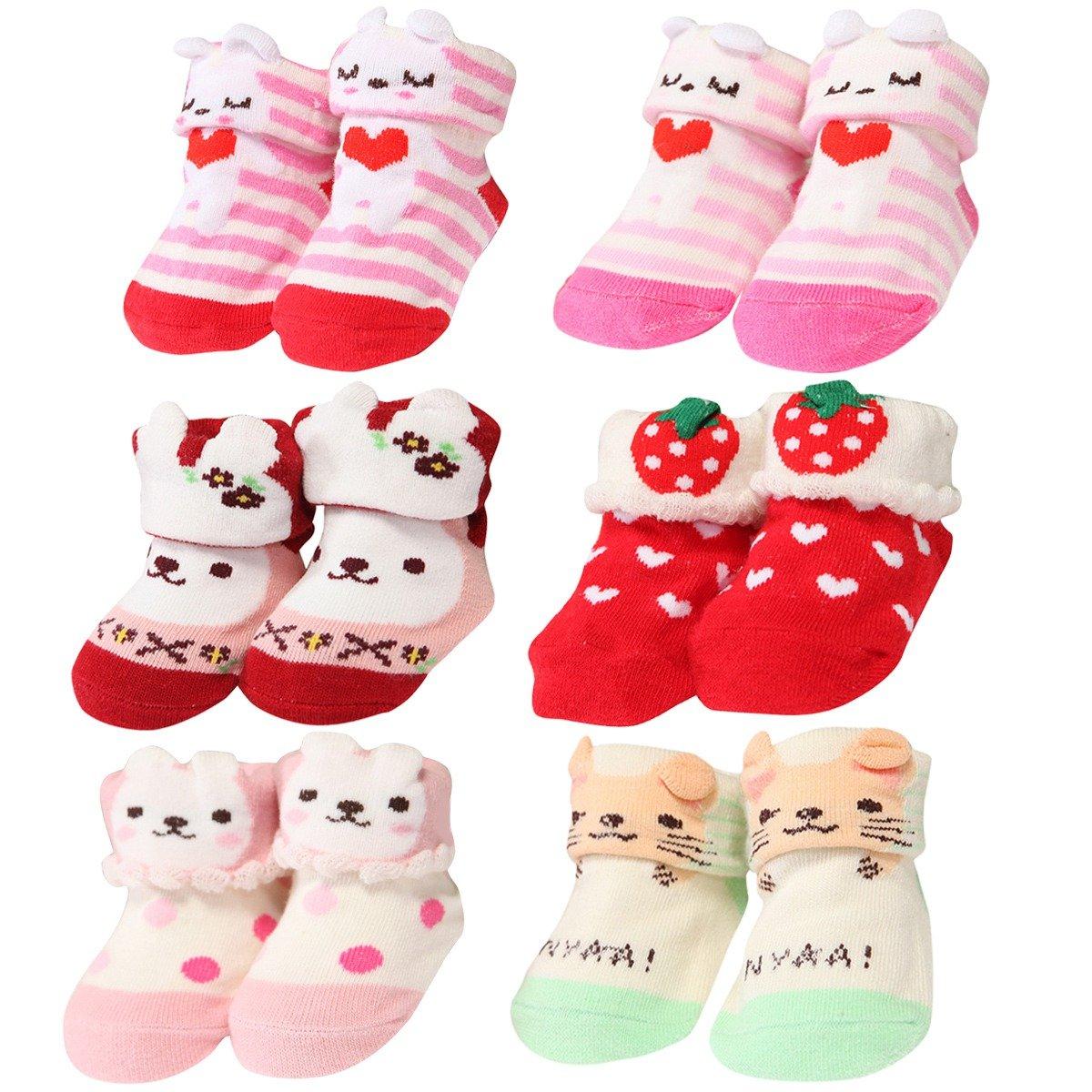 YIGOU 6 paia di scarpe da neonato Baby Girl-Calze antiscivolo in 3D-Pantofole da donna per scarpe, colori assortiti, 8 cm, da 0 a 6 mesi