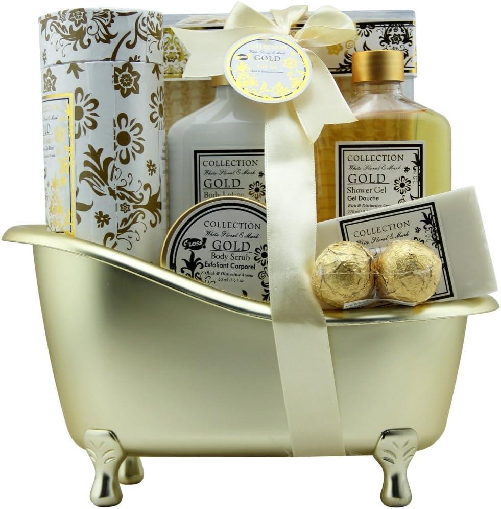 Gloss - caja de baño, caja de regalo para mujeres - Bath - Oro - almizcle y flores - 8 piezas