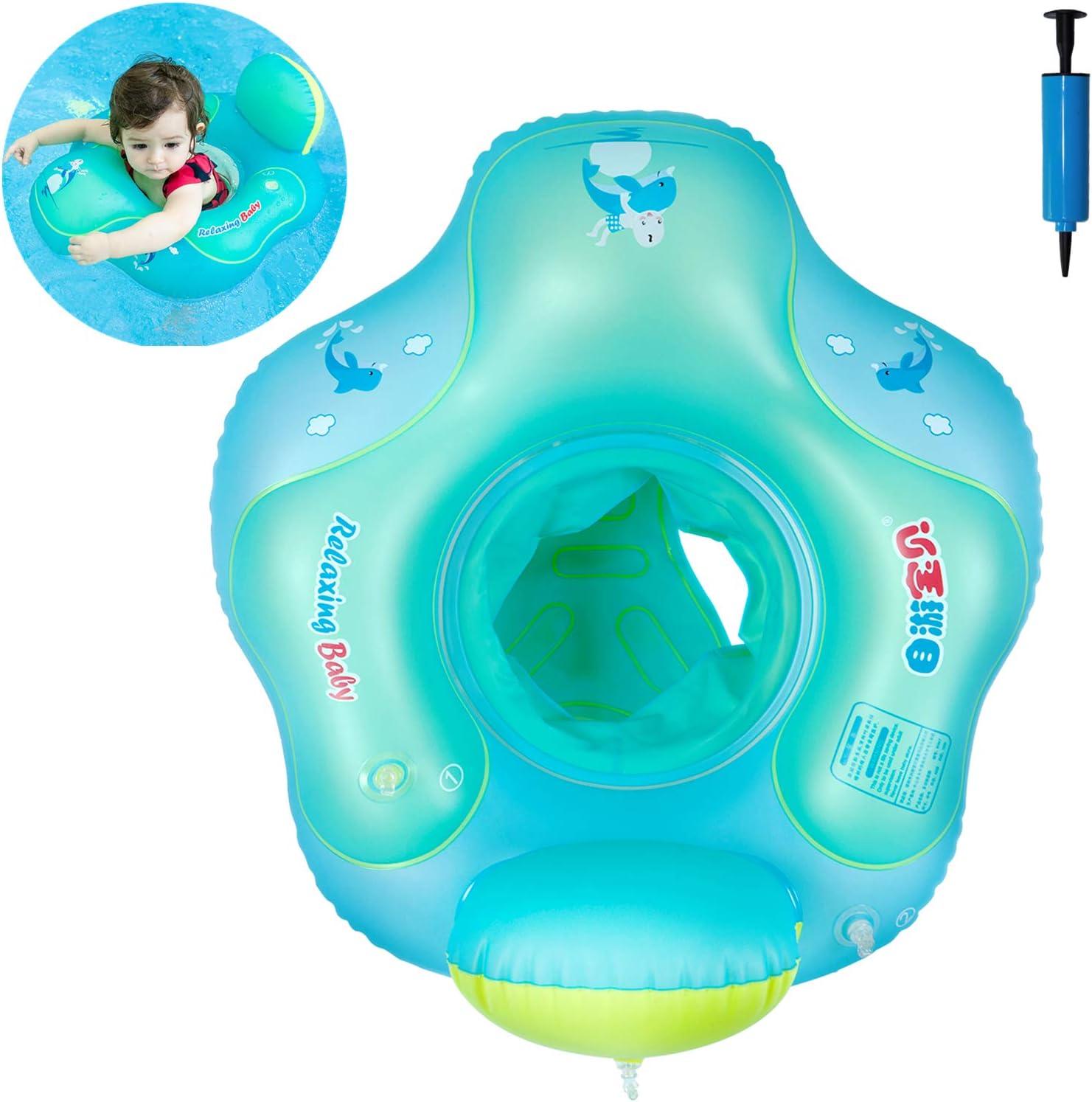 Myir Flotador bebé con Asiento y Respaldo, Anillo de Natación para bebés de Piscina Flotador Inflable para Niños Flotador de Natación Nadar Anillo (Azul, S)