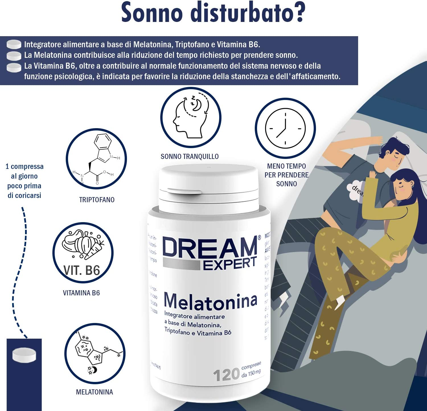 Dulàc - Dream Expert - 120 tabletas - Suplemento con Melatonina (1 ...