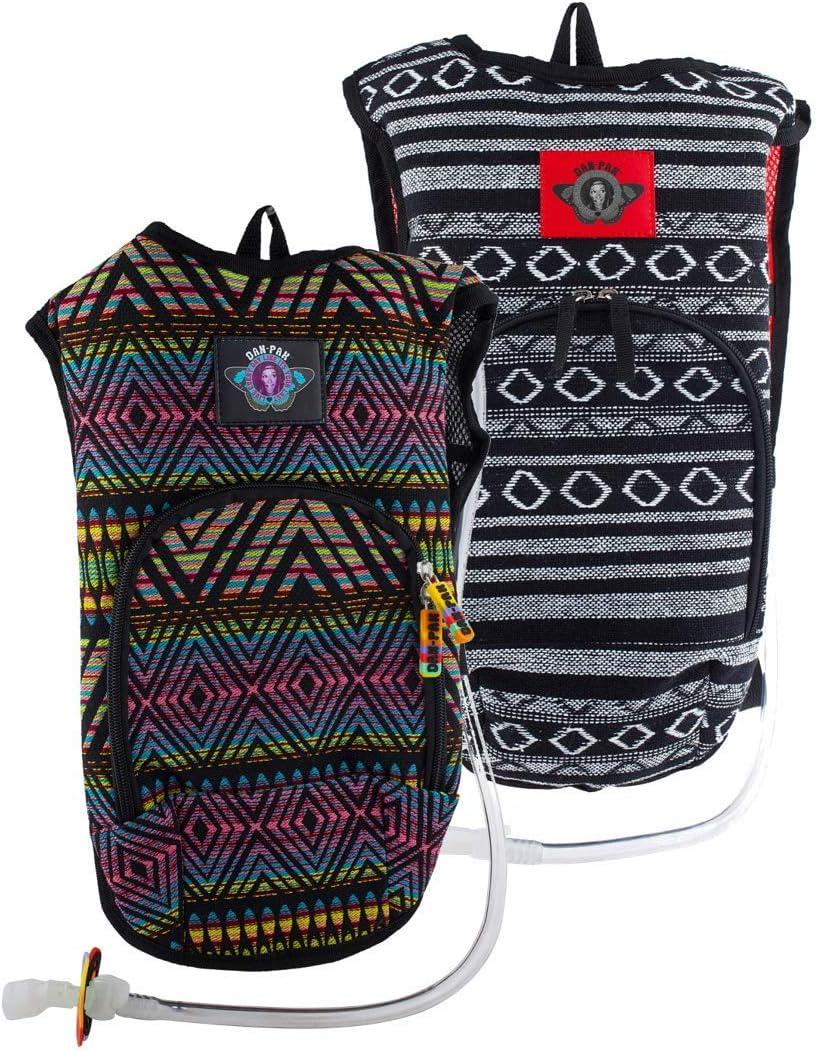 Dan-Pak Rave Hydration Pack Set- Hippie Trip- Neon Tribe- 2 Woven Tribal Design Bags!