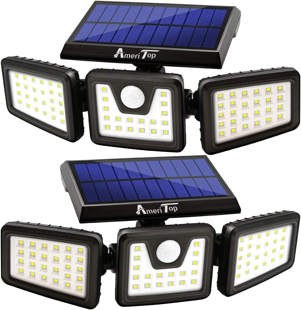 Solar Lights Outdoor, AmeriTop 800LM Wireless LED Solar Motion Sensor Lights Outdoor; 3 Adjustable Heads, 270° Wide Angle Illumination, IP65 Waterproof