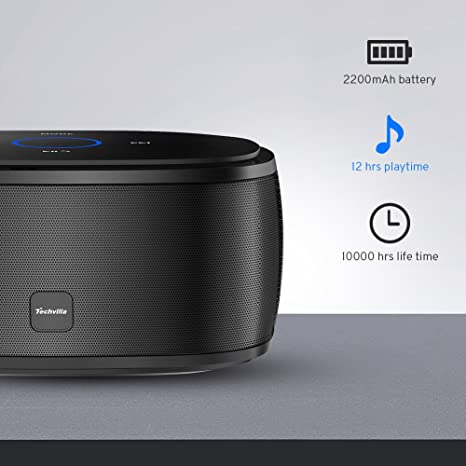 Bluetooth Lautsprecher Techvilla Wireless Bluetooth Lautsprecher Touch Tragbare Mit Dual Treiber 12 Stunden Spielzeit Und Starkem Stereo Drahtloser Speaker Mit Tf Karte Eingebauten Mikrofon Schwarz Audio Hifi