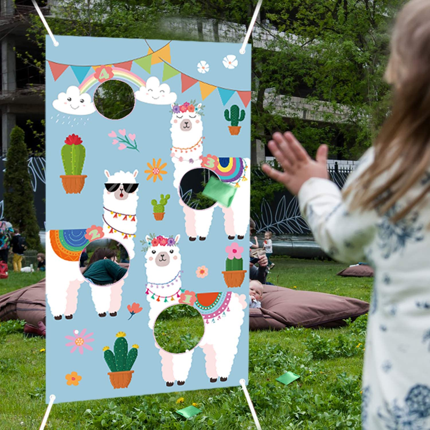 WATINC Alpaca Toss Games with 3 Bean Bags, Llama Carnival Party Game for Kids and Adults, Alpaca Banner Decoration for Birthday Party, Outdoor Yard Favors, All Ages Activity, Llama Themed Fun Game