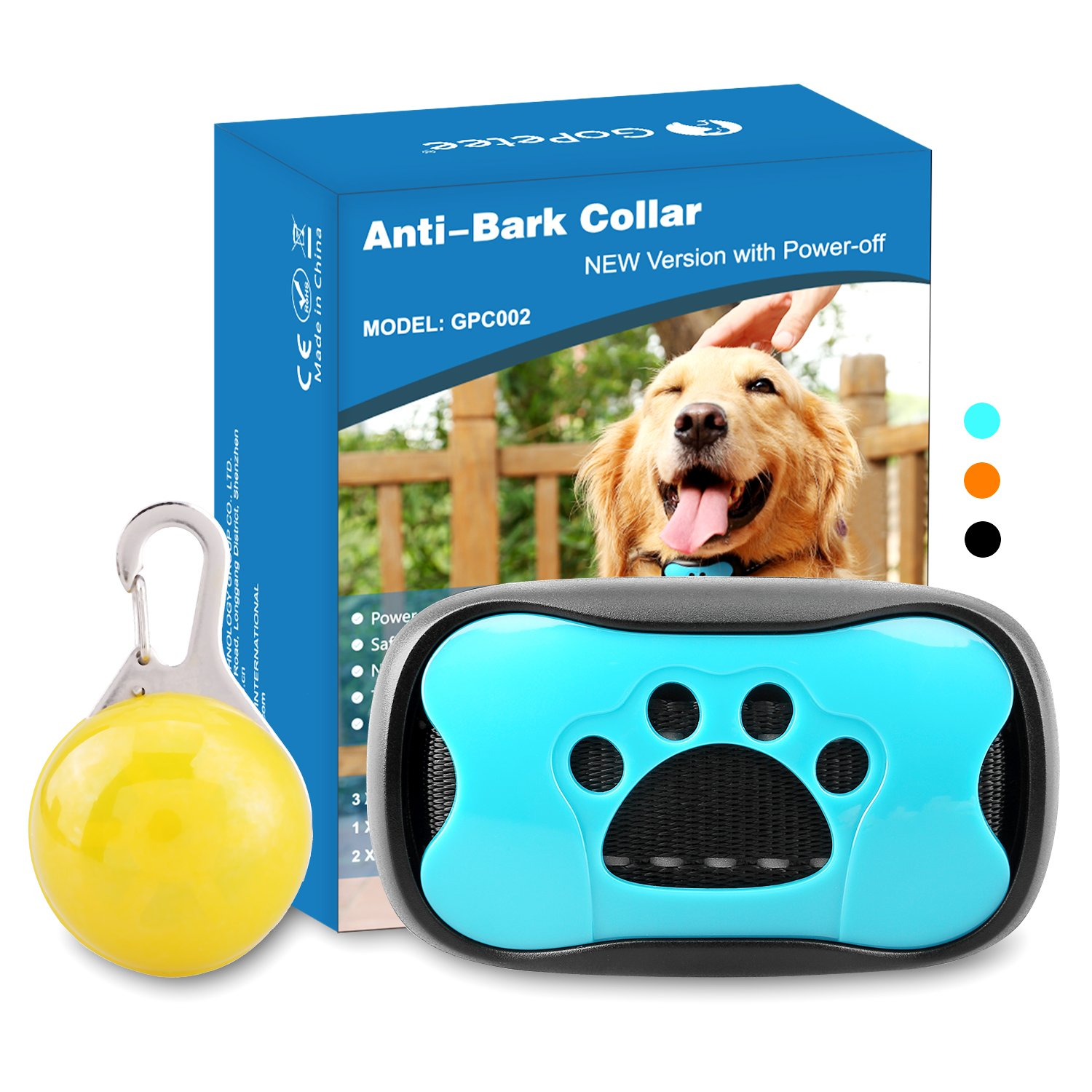 GoPetee Dog Anti Bark Collar Training with free LED light 7 Adjustable Levels No Bark Stop Puppy Barking Collar with Power On Off Auto Vibration Spare Batteries and Paw Shell Replacement Included for Small, Medium and Large Dogs