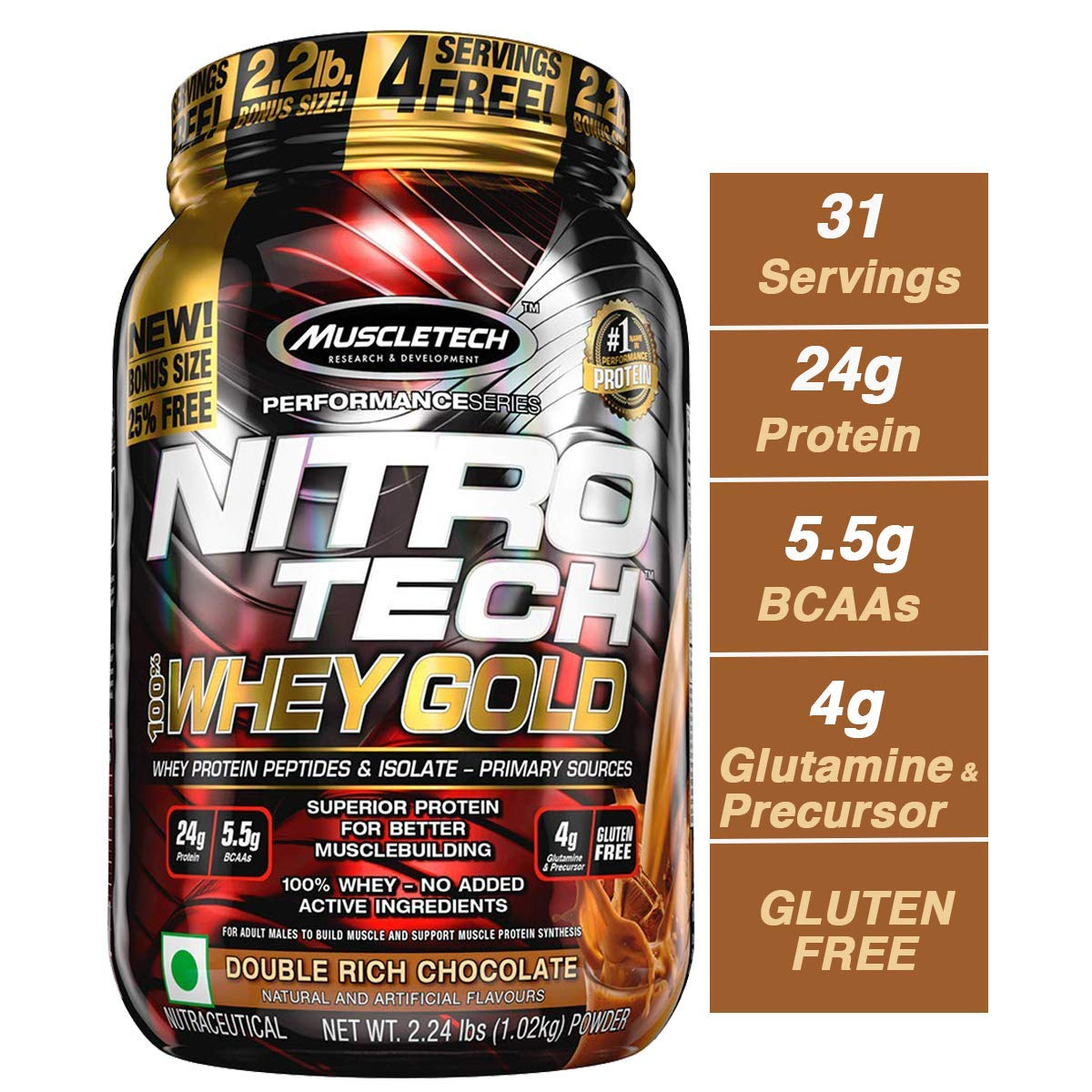 MuscleTech NitroTech Whey Gold, 100% Whey Protein Powder, Whey Isolate and Whey Peptides, Double Rich Chocolate, 2.2 Pound by MuscleTech