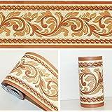 Circle Sphere Stripe Wallpaper Border Brown Metallic Shiny Gold Textured 10m