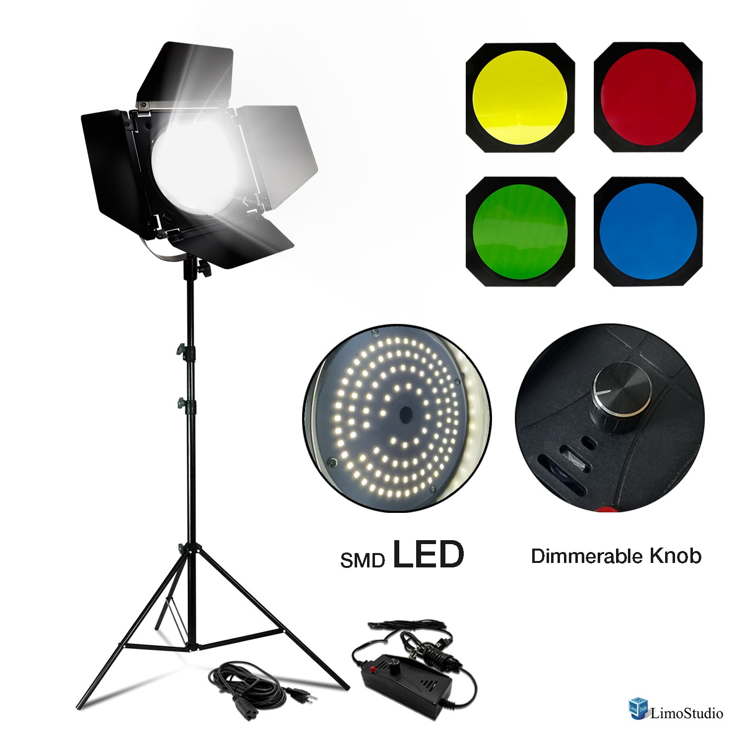 Photogaphy Video Studio Dimmable 55W LED Barn Door Lighting Kit, 4 Color Gel Filters and Extension Cord, LMS908