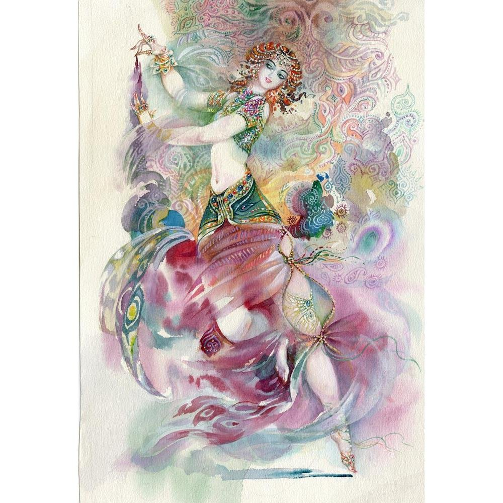 Pitaara Box Oriental Dance Young Girl Unframed Canvas Painting 34 x 49.4inch