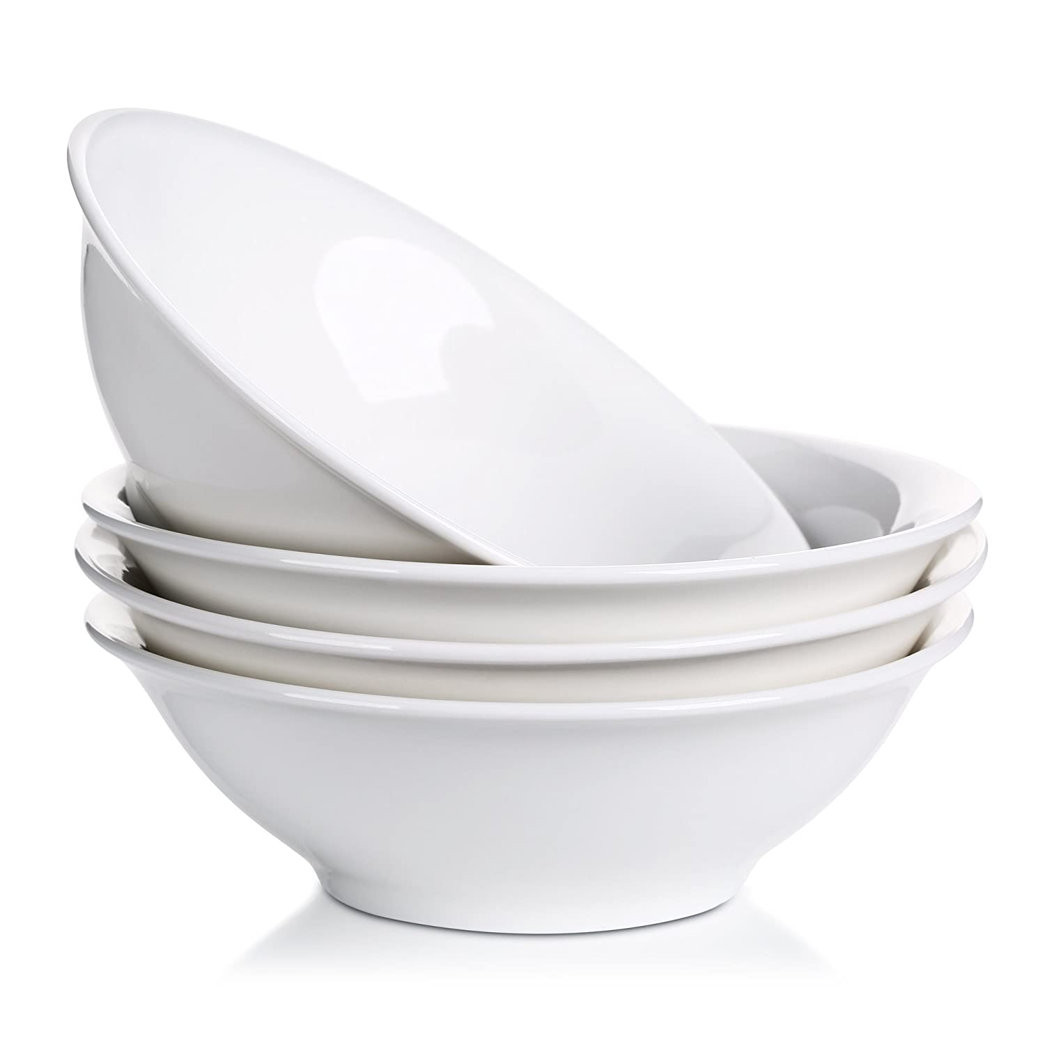 Lifver 18-Oz Porcelain Cereal Bowls/Soup/Noodle Bowl Set,Natural White,Set of 4 SYNCHKG078794