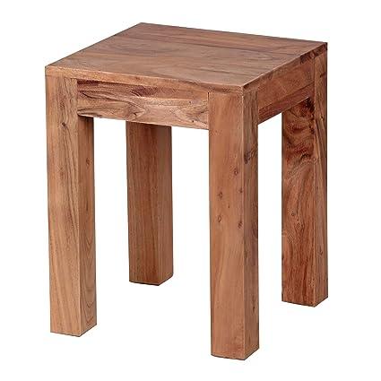 FineBuy Beistelltisch Massiv-Holz Akazie 35 x 35 cm Wohnzimmer-Tisch Design  dunkel-braun Landhaus-Stil Couchtisch Natur-Produkt Wohnzimmermöbel Unikat  ...