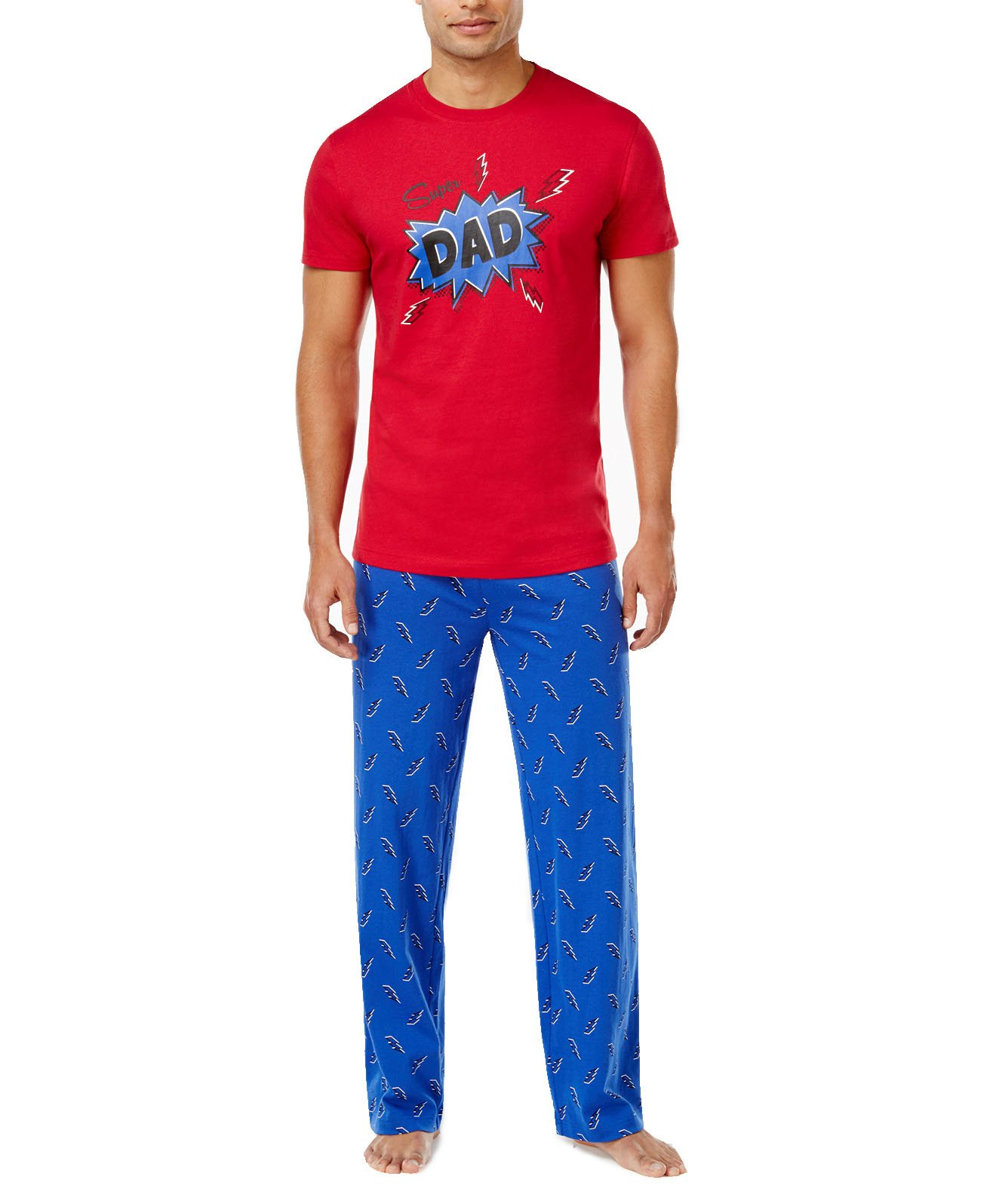 Family Pajamas Men's Super Dad Pajama Set (Large, Thunder Bolts)