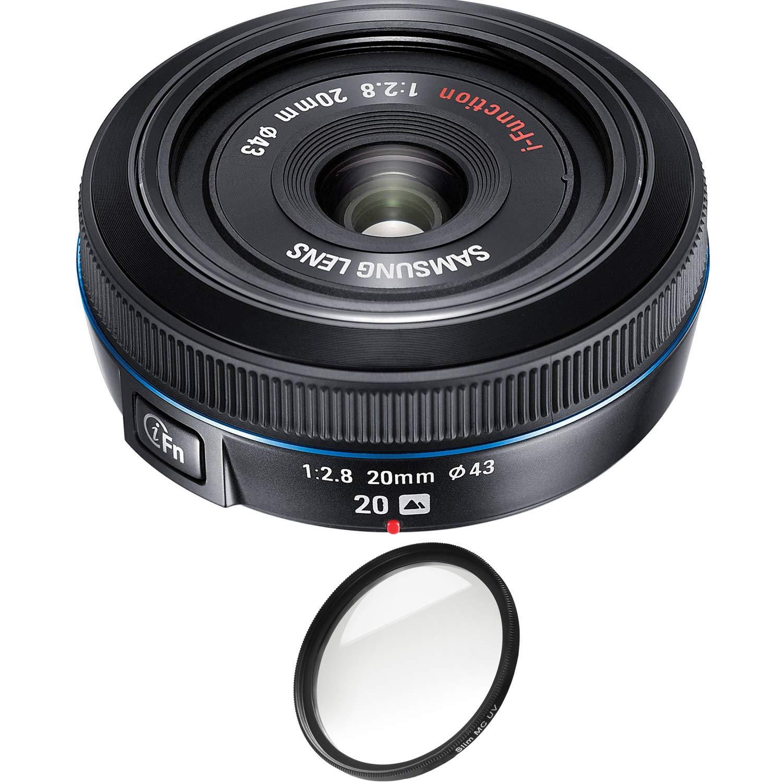 サムスン 20mm f/2.8 パンケーキレンズ NX10 / NX100用 (ブラック) プロフィルター付き (認定整備済み)   B07NSBX5CC