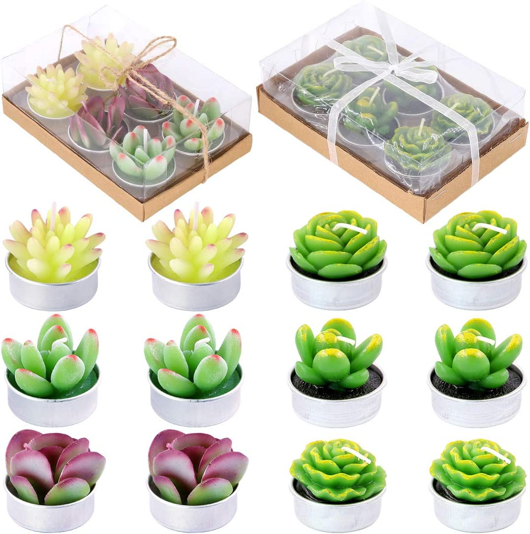 Glarks 12Pcs a Pack Artificial Succulents Candles Handmade Cactus Tealight Candles for Birthday Party Valentine's Day Wedding Spa Home Decor and DIY Gift