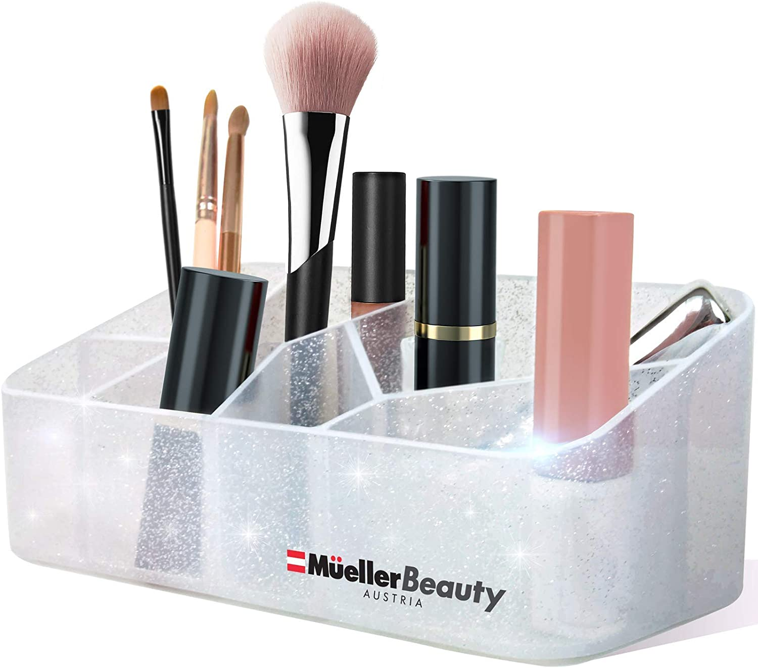 Mueller Beauty Makeup Organizer Countertop, Cosmetic and Jewellery Storage Organizer, Stylish Divided Beauty Display Case, for V