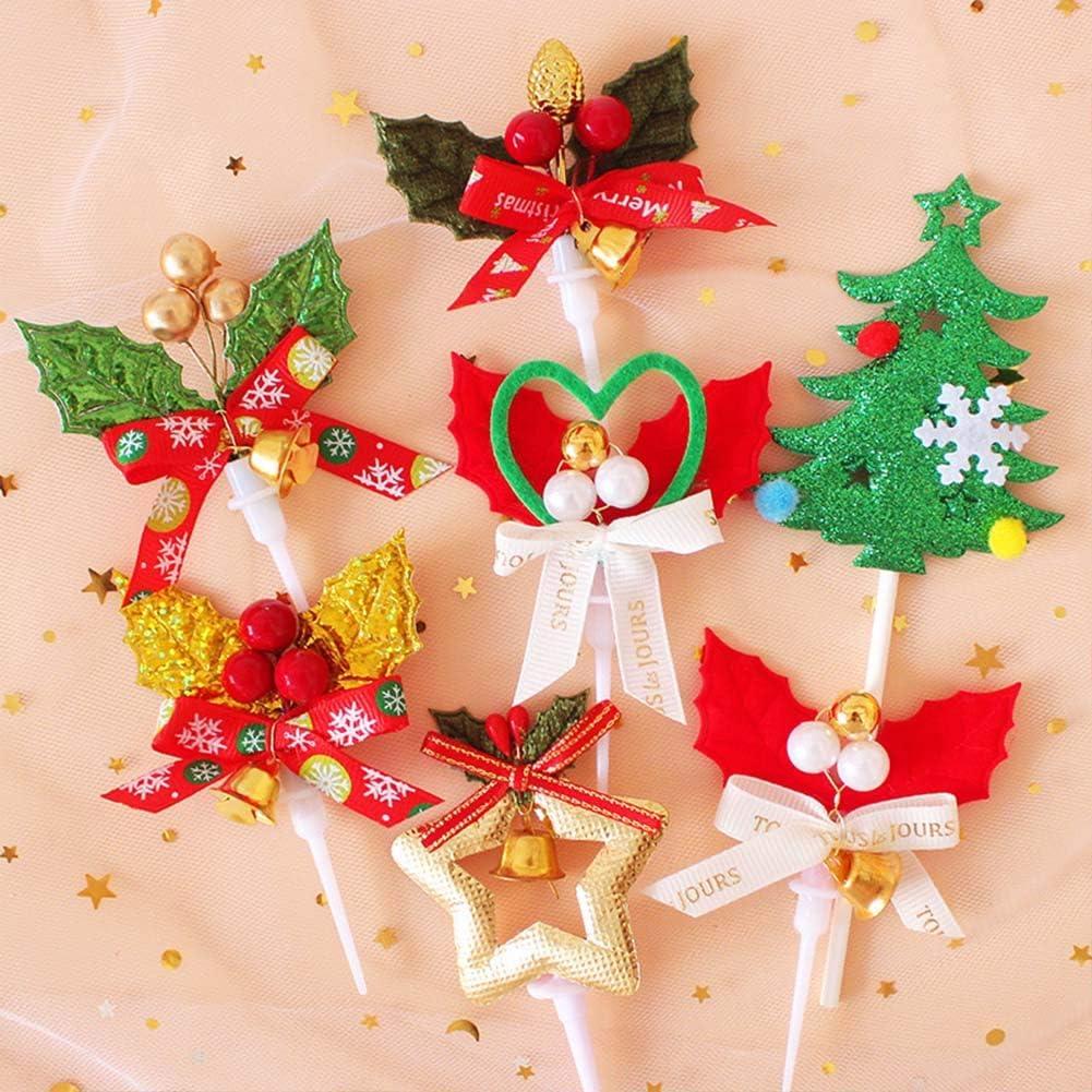 anniversaire No/ël Lot de 24 d/écorations pour g/âteaux de No/ël /étoile darbre et cloches pour la maison guirlandes de cupcakes f/ête pr/énatale