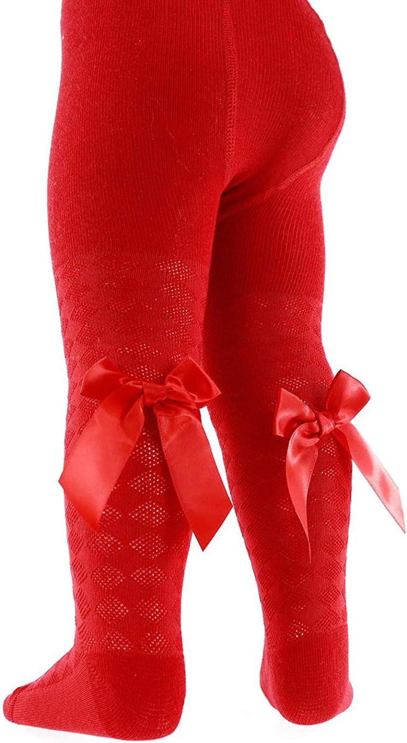 Baby Girls Tights Heart Print With Ribbon Bow Stockings Pom Pom Rich Cotton Leggings Newborn//24 Months