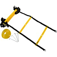 Juvale Speed and Agility Training Set - Includes Agility Ladder, Disc Cones, Steel Stakes and a Drawstring Bag - for Speed, Coordination, Footwork, Explosiveness, Sport Training, Black, Yellow