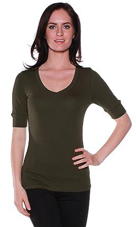 10870d11812 Emmalise Women s Cotton Blend V Neck Tee Shirt Half Sleeves - Dk Olive