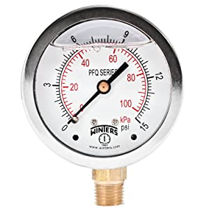 """Winters PFQ Series Stainless Steel 304 Dual Scale Liquid Filled Pressure Gauge with Brass Internals, 0-15 psi/kpa,2-1/2"""" Dial Display, +/-1.5% Accuracy, 1/4"""" NPT Bottom Mount"""
