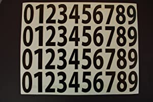 "Five STAR SUPPLY 0-9 Numbers Vinyl Sticker Decals Set of 40 Pick Color & Size 1/2"" to 12"" (V446) (3"", Black)"