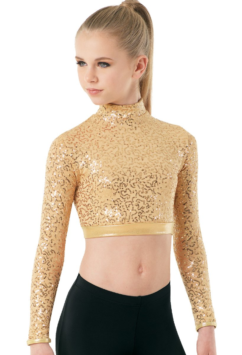 Balera Dance Crop Top Sequin Performance Mock Neck With Long Sleeves Gold Adult Large by Balera