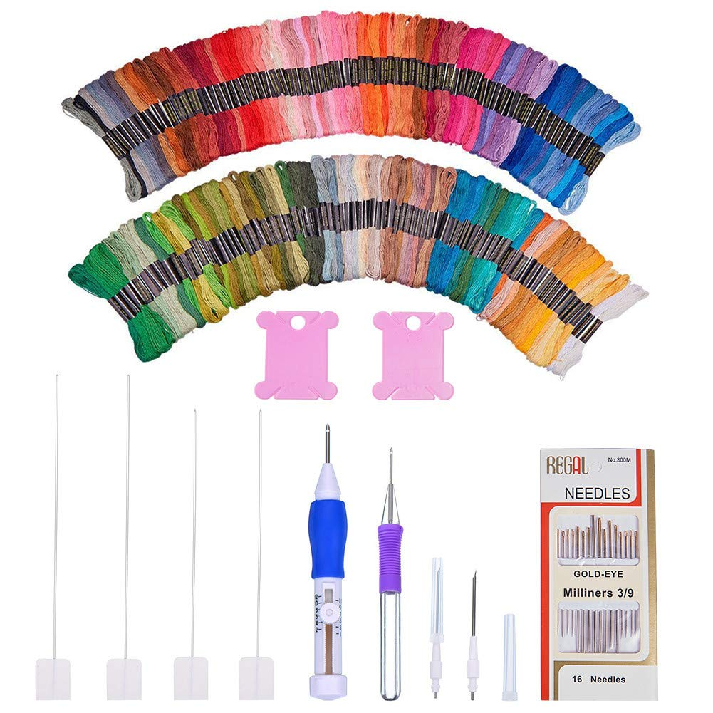 BENECREAT Magic Embroidery Pen Punch Needle, Embroidery Pen Set Craft Tool Including 150 Color Threads for Embroidery Threaders Knitting Sewing Tool