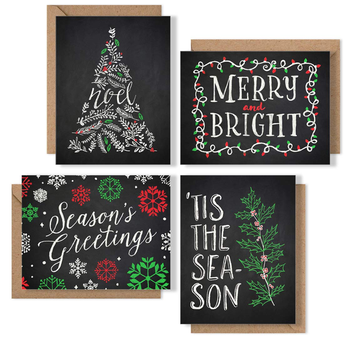 Christmas Cards Boxed Set: Chalk Art Holiday Card Pack (Premium Christmas Card Box Set + Kraft Envelopes) - 4 Unique Assorted Chalkboard Designs - Proudly Made in the USA By Palmer Street Press (36)
