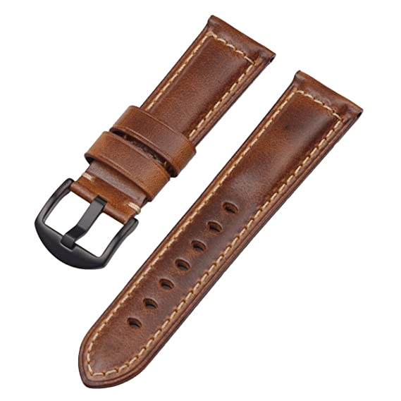 485700a832bf Amazon.com  22mm Oil Waxed Leather Watch Band